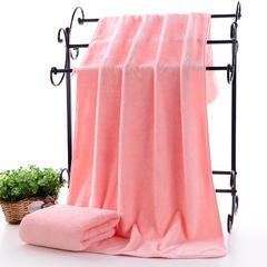 2018新款--高密珊瑚绒包边吸水套巾-毛巾(35*75)浴巾(70*140) 粉色浴巾