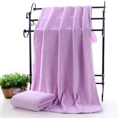 2018新款--高密珊瑚绒包边吸水套巾-毛巾(35*75)浴巾(70*140) 紫色浴巾