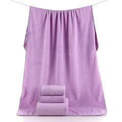 2018新款--高密珊瑚绒350克子母套巾-毛巾(35*75)浴巾(70*140) 紫色毛巾