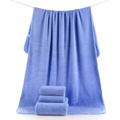 2018新款--高密珊瑚绒350克子母套巾-毛巾(35*75)浴巾(70*140) 蓝色浴巾