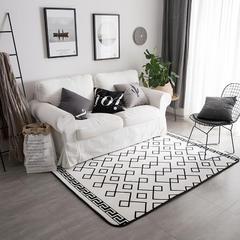 2018新款地毯圆网花型 80*195 白线条地毯(支持定制)