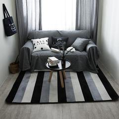 2018新款地毯圆网花型 80*195 黑灰白条纹地毯(支持定制)
