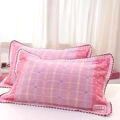 2018新款-纱布枕套 85*55cm 爱心粉色