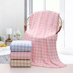 2018新款双层小格套巾 浴巾毛巾 粉色 -浴巾70*140cm