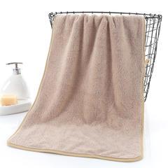2018新款--350平方克高密珊瑚绒套巾-毛巾(35*75)浴巾(70*140) 毛巾-驼色