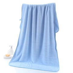 2018新款--350平方克高密珊瑚绒套巾-毛巾(35*75)浴巾(70*140) 浴巾-浅蓝