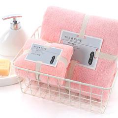 2018新款--350平方克高密珊瑚绒套巾-毛巾(35*75)浴巾(70*140) 套巾-浅粉