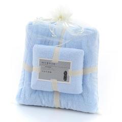 2018新款--350平方克高密珊瑚绒套巾-毛巾(35*75)浴巾(70*140) 套巾-浅蓝
