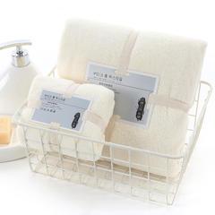 2018新款--350平方克高密珊瑚绒套巾-毛巾(35*75)浴巾(70*140) 套巾-米色