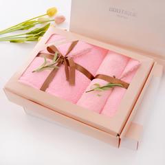 2019珊瑚绒包边一条浴巾两条毛巾礼盒 粉色
