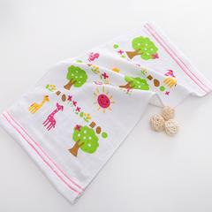 2018新款全新箭杆机器 纱布印花童巾  25*50 粉色小鹿