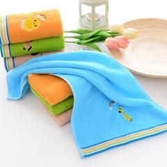 纯棉童巾柔软吸水 纯棉提花绣花童巾卡通童巾婴幼儿小毛巾 蓝色  25*50cm