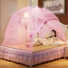 2019新品拿卡蚊帐   玻璃纤维蒙古包蚊帐双开门 1.2*2M床 粉色