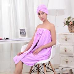 2019新品-蝴蝶结浴裙 浴帽 25*65 浅紫色