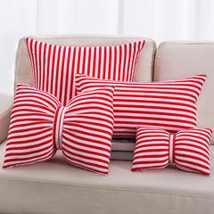 2018新款纯棉斜纹布抱枕 30x50cm(抱枕套) 条纹抱枕-大红