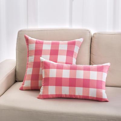 2018新款纯棉帆布方格系列抱枕 30*50cm(抱枕套) 大方格-粉色