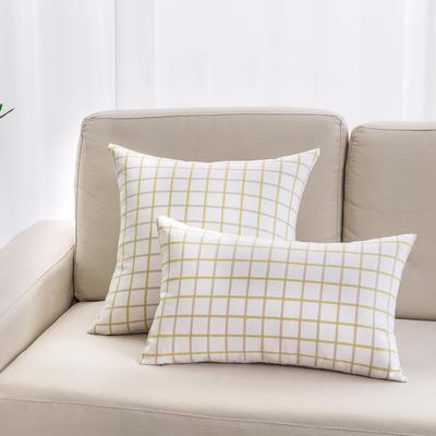 2018新款纯棉帆布方格系列抱枕 30*50cm(抱枕套) 小方格-绿色