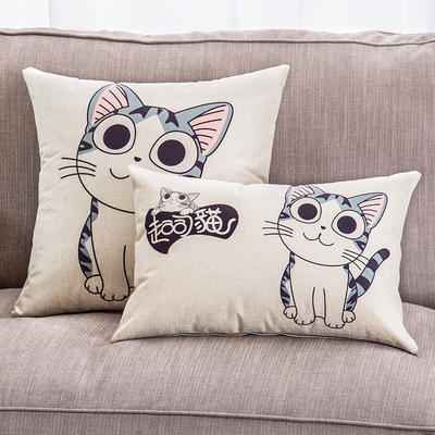 2018新款棉麻起司猫系列抱枕 30*45cm(抱枕套) 萌猫