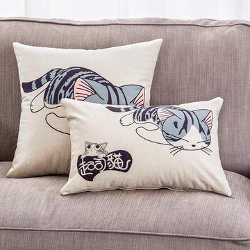 2018新款棉麻起司猫系列抱枕