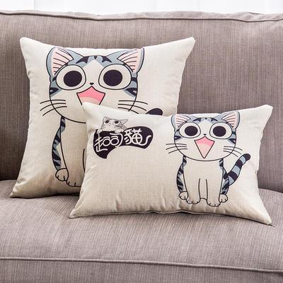2018新款棉麻起司猫系列抱枕 30*45cm(抱枕套) 站猫