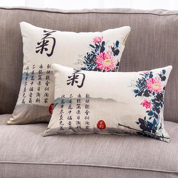2018新款棉麻梅兰竹菊系列抱枕