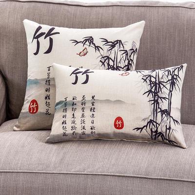2018新款棉麻梅兰竹菊系列抱枕 50*70cm(抱枕套) 竹-棉麻
