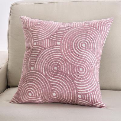 2018新款链条绣粉色系列抱枕 45X55cm(双面图案抱枕套) 圆圈纹 粉色