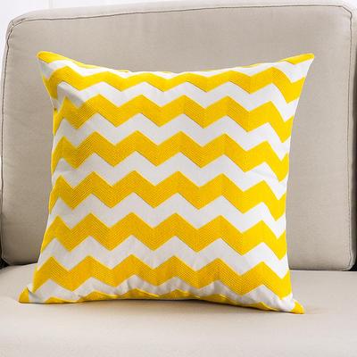 2018新款链条绣黄色系列抱枕 45*45cm(单面图案抱枕套) 波浪纹-黄色