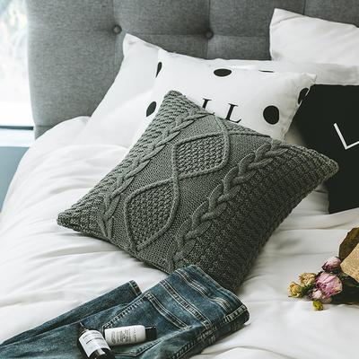2018新款针织类抱枕-蒂亚 45*45cm(抱枕套) 灰色