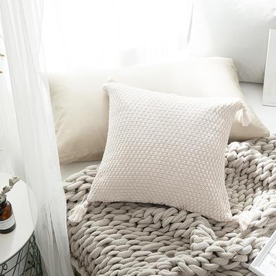 2018新款针织类夏娃的诱惑靠枕抱枕 45*45cm(抱枕套) 米白