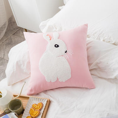2019新款A242 萌宠毛巾绣系列 45*45cm单面图案抱枕套 粉色 侧脸兔