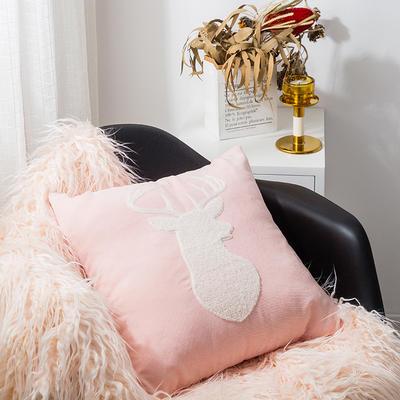 2019新款A242 萌宠毛巾绣系列 45*45cm单面图案抱枕套 粉色 鹿头