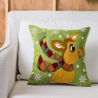 2019新款圣诞款  满绣抱枕 45*45cm抱枕套 满绣 卡通围巾鹿