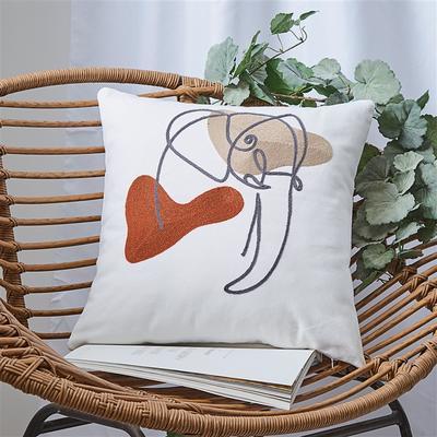 2020新款A222 链条绣 卡通抽象系列抱枕 45*45cm含芯抱枕 线条系列-大象
