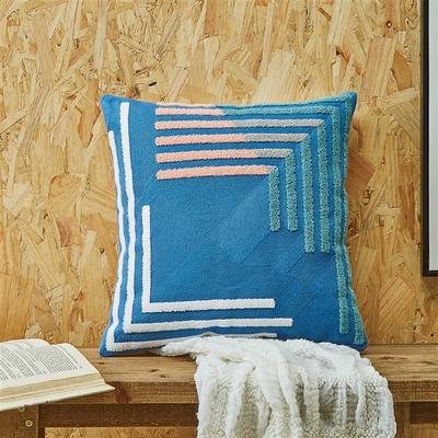 2020新款A270 复合毛巾绣 抱枕1 45*45cm抱枕套 L 格-蓝色