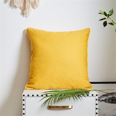 2020新款A291 橙黄 多款式系列 抱枕 45*45cm含芯抱枕 纯色黄色帆布