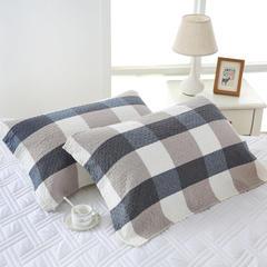 2019新品-水洗棉格子枕巾(50*75) 蓝格子