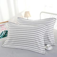 2019新品-四层纱布枕巾(52*75) 灰白横条