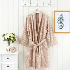 2019新品-男女同款四层格子浴袍 女款 衣长110cm 咖色 格子