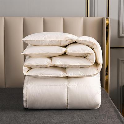2020新款柔赛丝纯色羽绒被 150x200cm5斤 奶白