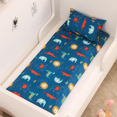 2020新款全棉13372全棉床垫套 幼儿园床垫套 60*120cm 动物世界-蓝