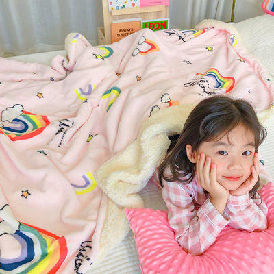 2020年ins网红爆款双层加厚羊羔绒毛毯盖毯牛奶绒毯床单休闲毯儿童毛毯印花毯子 120*150cm 彩虹堂