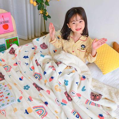 2020年ins网红爆款双层加厚羊羔绒毛毯盖毯牛奶绒毯床单休闲毯儿童毛毯印花毯子 120*150cm 嘟嘟熊