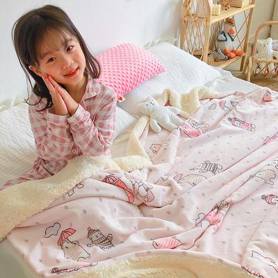 2020年ins网红爆款双层加厚羊羔绒毛毯盖毯牛奶绒毯床单休闲毯儿童毛毯印花毯子 120*150cm 可爱小熊