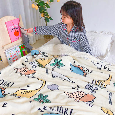 2020年ins网红爆款双层加厚羊羔绒毛毯盖毯牛奶绒毯床单休闲毯儿童毛毯印花毯子 120*150cm 恐龙世界