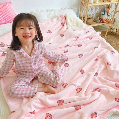 2020年ins网红爆款双层加厚羊羔绒毛毯盖毯牛奶绒毯床单休闲毯儿童毛毯印花毯子 120*150cm 甜心草莓