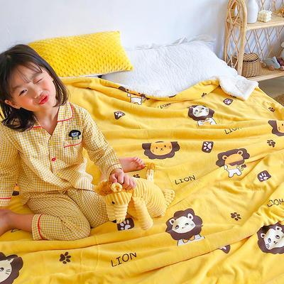 2020年ins网红爆款双层加厚羊羔绒毛毯盖毯牛奶绒毯床单休闲毯儿童毛毯印花毯子 120*150cm 小狮子