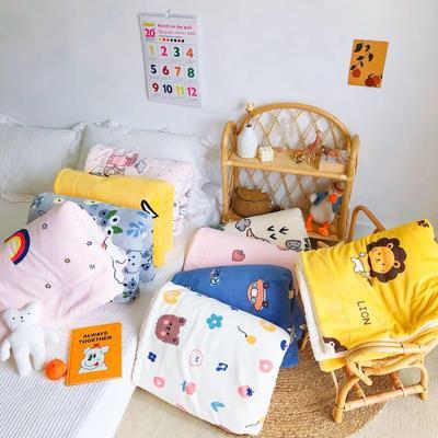 2020年ins网红爆款双层加厚羊羔绒毛毯盖毯牛奶绒毯床单休闲毯儿童毛毯印花毯子 120*150cm 暖心