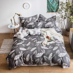 2018新款植物羊绒AB版加厚磨毛四件套 1.2m(4英尺)床三件套 久久叶情