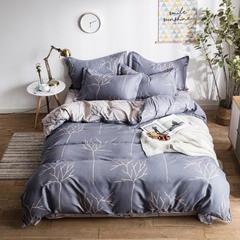 2018新款植物羊绒AB版加厚磨毛四件套 1.2m(4英尺)床三件套 薰衣草